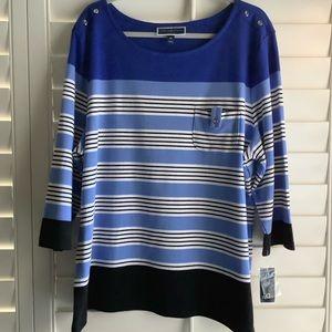 Karen Scott Sport Blue Black Striped Casual Top